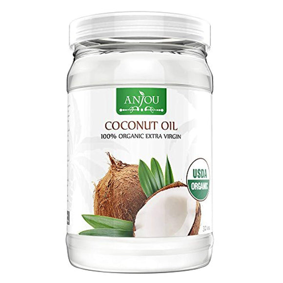 Coconut Oil 32 oz, Anjou Organic Extra Virgin, Gluten Free, Cold Pressed Unrefined