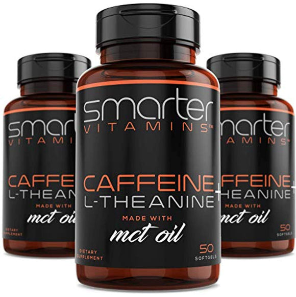 (3-Pack) 200mg Caffeine Pills with 100mg L-Theanine for Energy, Focus and Clarity + Coconut MCT Oil, Pre Workout
