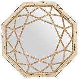 Stone & Beam Vintage-Look Octagonal Hanging Wall Mirror Decor, 25.5 Inch Height, Antique White
