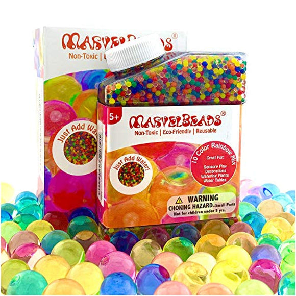 MarvelBeads Water Beads [Non-Toxic] Fully Certified, Rainbow Mix for Kids Sensory Play