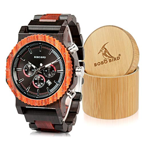 BOBO BIRD Mens Luxury Wooden Wrist Watches Large Size Date & Chronograph Display Ebony Watch with Gift Bamboo Wood Box for Men