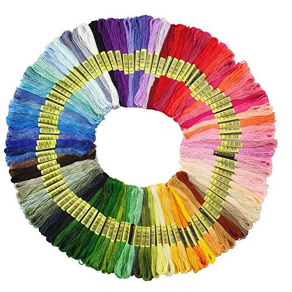Premium Rainbow Color Embroidery Floss - Cross Stitch Threads - Friendship Bracelets Floss - Crafts Floss - 100 Skeins Per Pack (Bag)