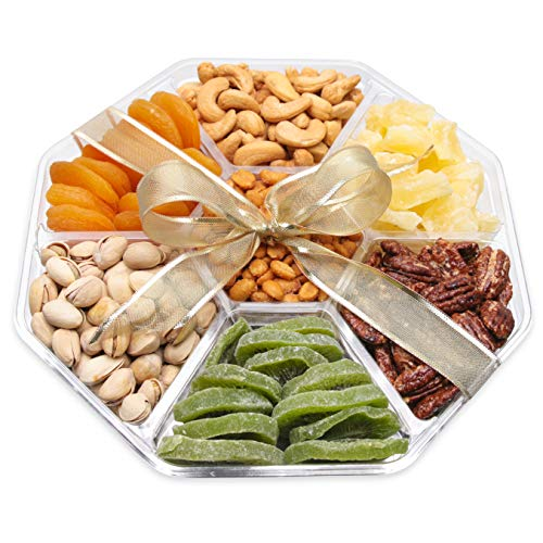 Gourmet Gift Basket Dried Fruit And Nuts, Double Sealed Prolongs Freshness - 10x10x2 In - Healthy Vegan Food Nuts Gift Baskets