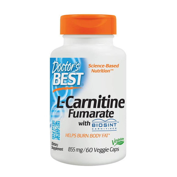 Doctor's Best L-Carnitine Fumarate, Non-GMO, Vegan, Gluten Free, Heart Health, 855 mg, 60 Veggie Caps