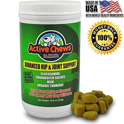 Active Chews Premium Hip and Joint Dog Treats by Glucosamine for Dogs, Chondroitin MSM and Turmeric for Dogs 16.9 oz