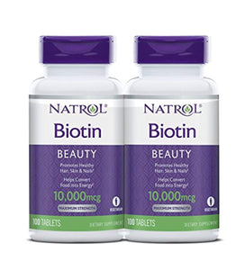 Natrol Biotin Beauty Tablets, Promotes Healthy Hair, Skin and Nails, Helps Support Energy Metabolism, 10,000mcg, 100 Count (Pack of 2)