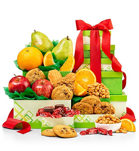 Fresh Fruit From the Orchard Tower Gift Set | 5 Gift Boxes Loaded with Premium Fresh Fruits, Dried Fruits, Savory Nuts, and Candies
