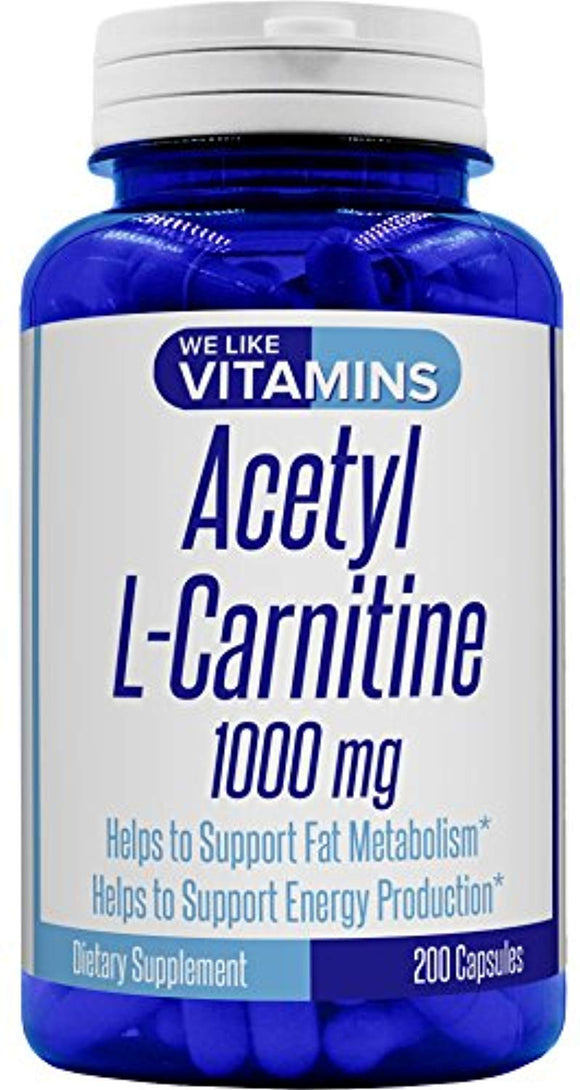 Acetyl L-Carnitine 1000mg 200 Capsules - 100 Day Supply - Best Value Acetyl l carnitine Supplement
