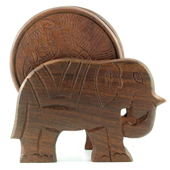 Elephant Design Wooden Coasters With Holder - set of 6