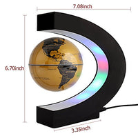Floating Globe Rotating World Map Earth Planet Ball with C Shaped Magnetic Levitation LED Display Platform Stand - Educational Gifts for Kids, Office Desk Decoration Ornament (Golden) Free Shipping