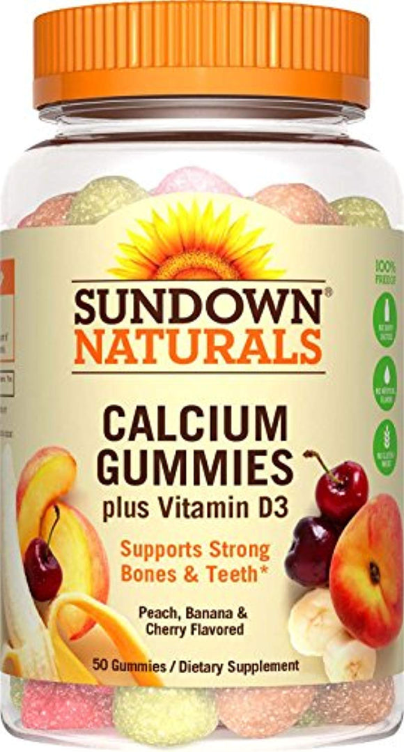 Sundown Naturals Calcium Plus Vitamin D3 Gummies, 50 Count (Pack of 3)