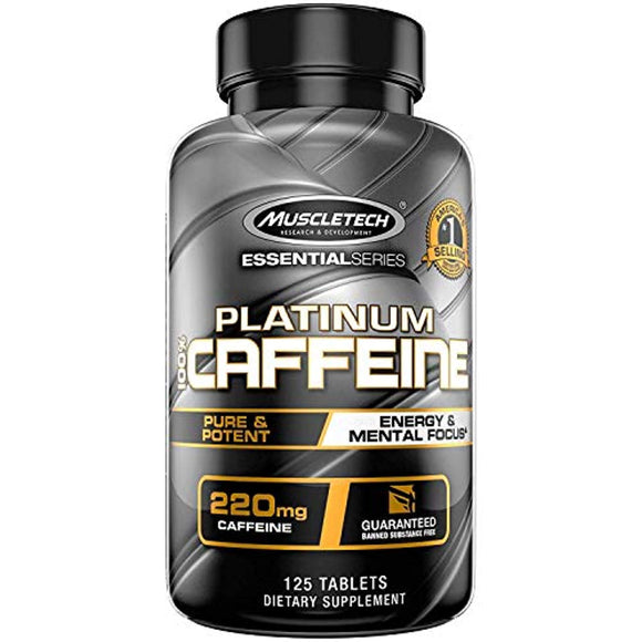 Muscletech Platinum 100% Caffeine Pill, Unflavored, 125 Count