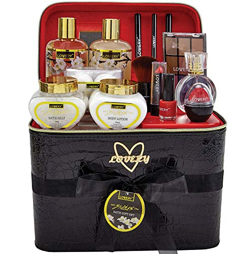 Premium Bath and Body Gift Basket For Women – 30 Piece Set Floral Jasmine Home Spa & Makeup Set