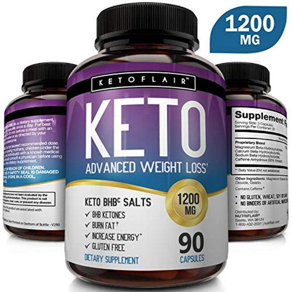 Best Keto Diet Pills 1200mg (90 Capsules) Advanced Weight Loss Ketosis Supplement  - Best Weight Loss Support