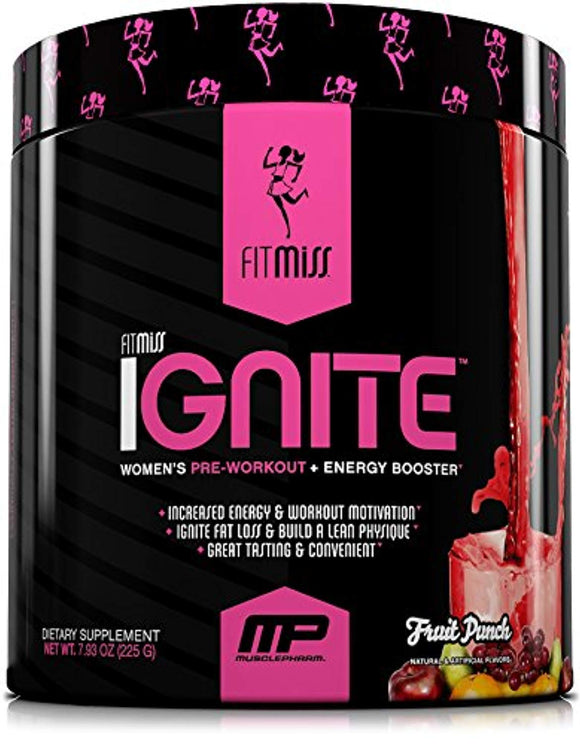 FitMiss Ignite, Women's Pre-Workout Supplement & Energy Booster for Fat Loss, Supports Energy, Fruit Punch, 30 Servings