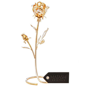 "Everlasting 7.5"" 24K Gold Plated Long Stem Rose Flower with Premium Crystals, Great #1 Gift for Mother's day gifts"