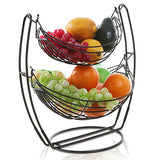 Chrome Double Hammock 2 Tier Fruit/Vegetables/Produce Metal Basket Rack Display Stand