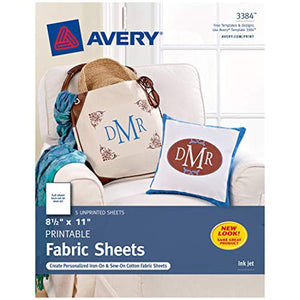 Avery Printable Fabric, 8.5 x 11 Inches, Inkjet Printer