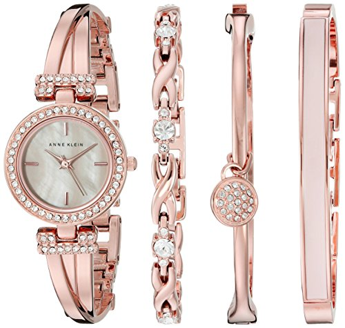 Anne Klein Rose Goldtone Crystal Bangle and Watch Set