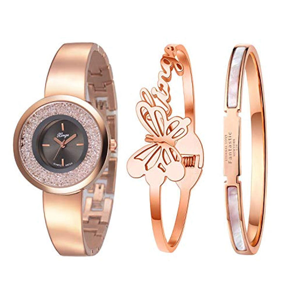 Xinge Watch Bangles Bracelet Set for Women Rose Gold Tone 3 Pieces XG181005