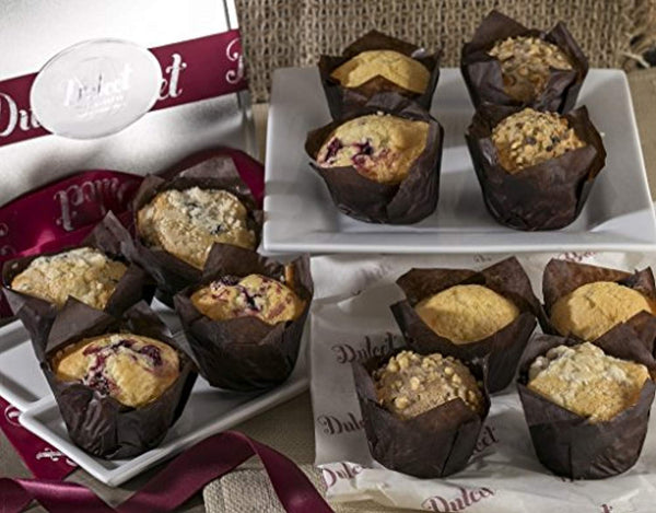 Dulcet Muffins Gift Basket – Includes 4 Delectable Flavors: Cranberry, Corn, Blueberry and Banana