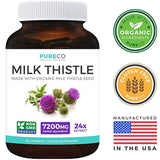 Organic Milk Thistle 24:1 Extract (80% Silymarin & Vegan) Super-Concentrated Extract for 7,200mg of Milk Thistle Seed Power - 60 caps