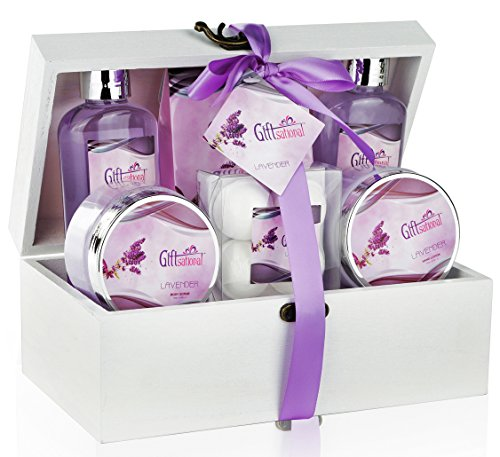 Spa Gift Basket with Sensual Lavender Fragrance, Bath Gift Set Includes Shower Gel, Bubble Bath, Bath Salts, Bath Bombs and More!