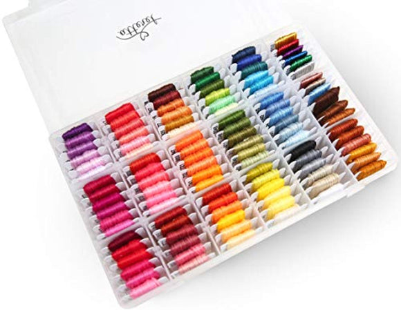Atteret Embroidery Floss Kit - 108, 6-Strand Colors (99 Cotton, 9 Metallic) on Plastic Bobbins in Organizer.