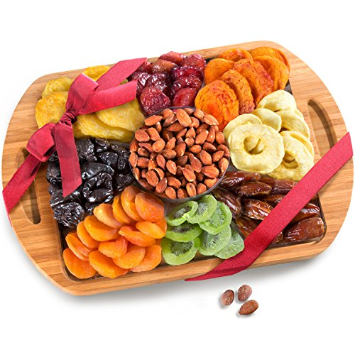 Dried Fruit and Nuts In Keepsake Bamboo Cutting Board Serving Tray with Handles