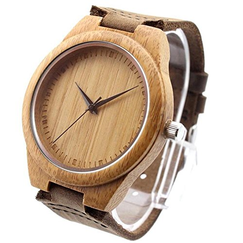 Ideashop Vosicar Retro Leather Fashion Bamboo Wooden Watch