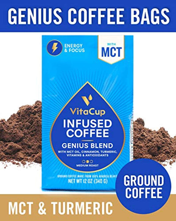 VitaCup Genius Blend Ground Coffee Bags 12oz with MCT, Turmeric, Cinnamon, Vitamins B1, B5, B6, B9, B12, D3 | Keto | Paleo | Whole30 Friendly
