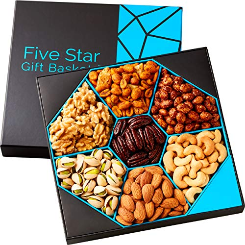 Five Star Gift Baskets, Holiday Nuts Gift Basket - Delightful Gourmet Food Gifts Prime Delivery