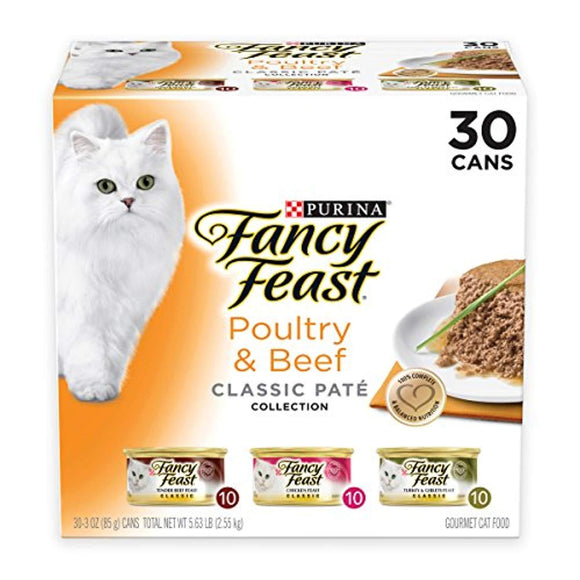 Purina Fancy Feast Grain Free Pate Wet Cat Food Variety Pack (30) 3 oz. Cans