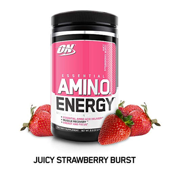 OPTIMUM NUTRITION ESSENTIAL AMINO ENERGY, Juicy Strawberry Burst, Preworkout and Essential Amino Acids, 30 Servings