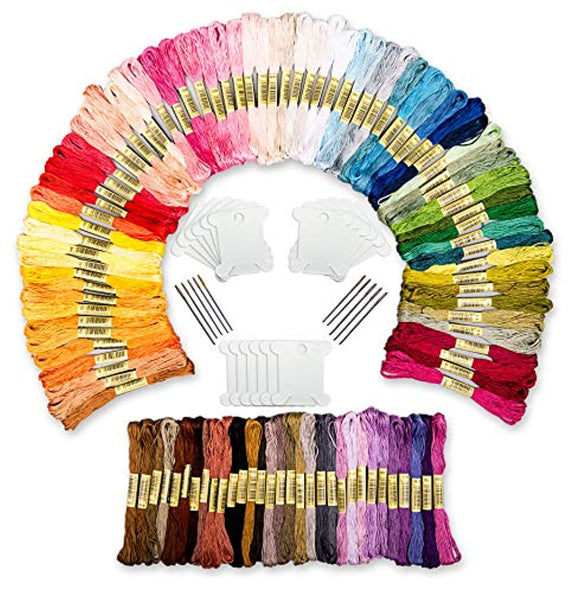 Embroidery Floss Kit – 100 Embroidery Thread Colors Including 18 Bobbins and 10-Pack of Needles