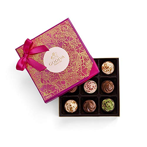 Godiva Chocolatier Godiva Chocolatier Valentines Day 9pc Fairy Cakes Square Gift Box, Valentines Day Gifts for Her,  4.09 Ounce