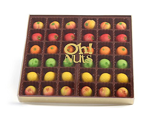 Marzipan Candy Fruits, Gift Tray in a Fancy Box, Unique Basket for Women & Men Alike, Gourmet Gifts Food Idea (36 Piece)