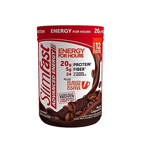SlimFast Advanced Energy Mocha Cappuccino Meal Replacement, Smoothie Mix, 0.68 Pound
