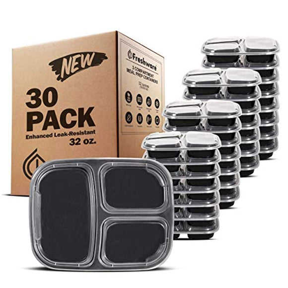 Freshware Meal Prep Containers [30 Pack] 3 Compartment Bento Box
