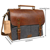 "Lifewit Leather Vintage Canvas Laptop Bag, 13""(L)x10.5""(H) x 4.1""(W), Grey"