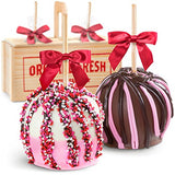 Golden State Fruit Heartfelt Milk and White Chocolate Covered Caramel Apples Gift Crate