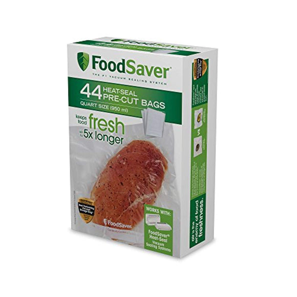 FoodSaver 1-Quart Precut Heat-Seal Bags with BPA-Free Multilayer Construction for Food Preservation, 44 Count