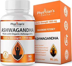 Ashwagandha 1950mg Organic Ashwagandha Root Powder Extract of Black Pepper Anxiety Relief, Thyroid Support, Cortisol & Adrenal Support