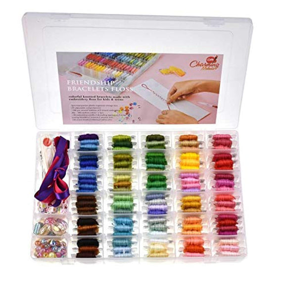 Charming Melodie-374 PCS,100 Premium Embroidery Floss, DMC Color Coded, Organizer Storage Box Embroidery Thread Friendship Bracelets Kit Cross Stitch Kits