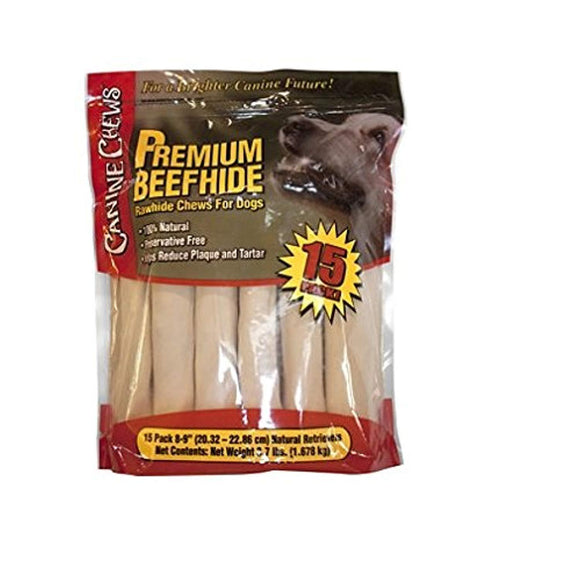 Canine Chews Premium All-Natural Beef Hide Canine Retrievers - 15 pk. - 3.7 lb