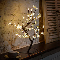 Cherry Blossom Desk Top Bonsai Tree Light, Decorative Warm White Light, Black Branches