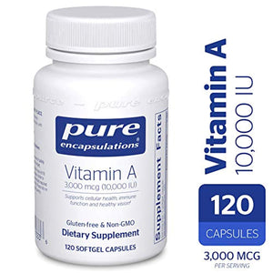 Pure Encapsulations - Vitamin A 10,000 IU - Supports Vision, Growth, Reproductive Function, Immunity, Skin and Mucous Membranes - 120 ct