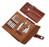 Manicure Set Nail Clipper Set of 10pcs With Leather Case - Professional Stainless Steel Grooming Kit Pedicure Set for Travel