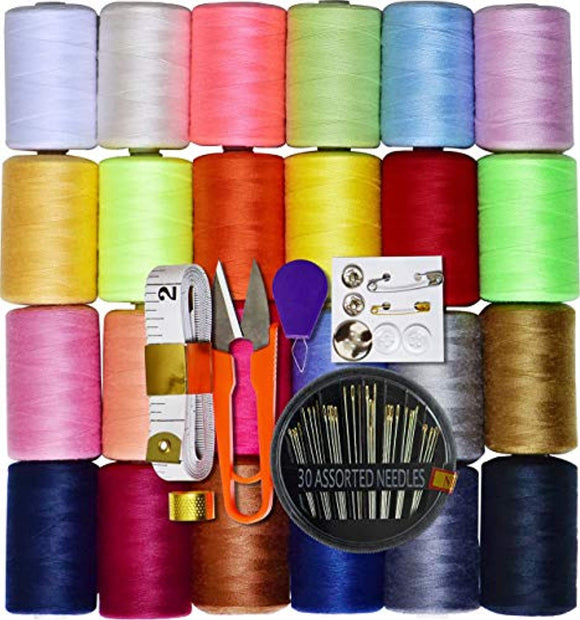Sewing kit 24 Assorted Color 100% Polyester All Purpose Sewing Thread 1000m Each Spool