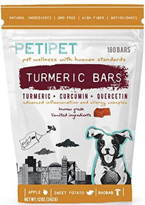Petipet Dog Turmeric Curcumin Bars - Turmeric and Quercetin Anti-Inflammation and Allergy Supplement for Dogs